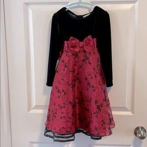 Black velvet like top with red sheer dress 3